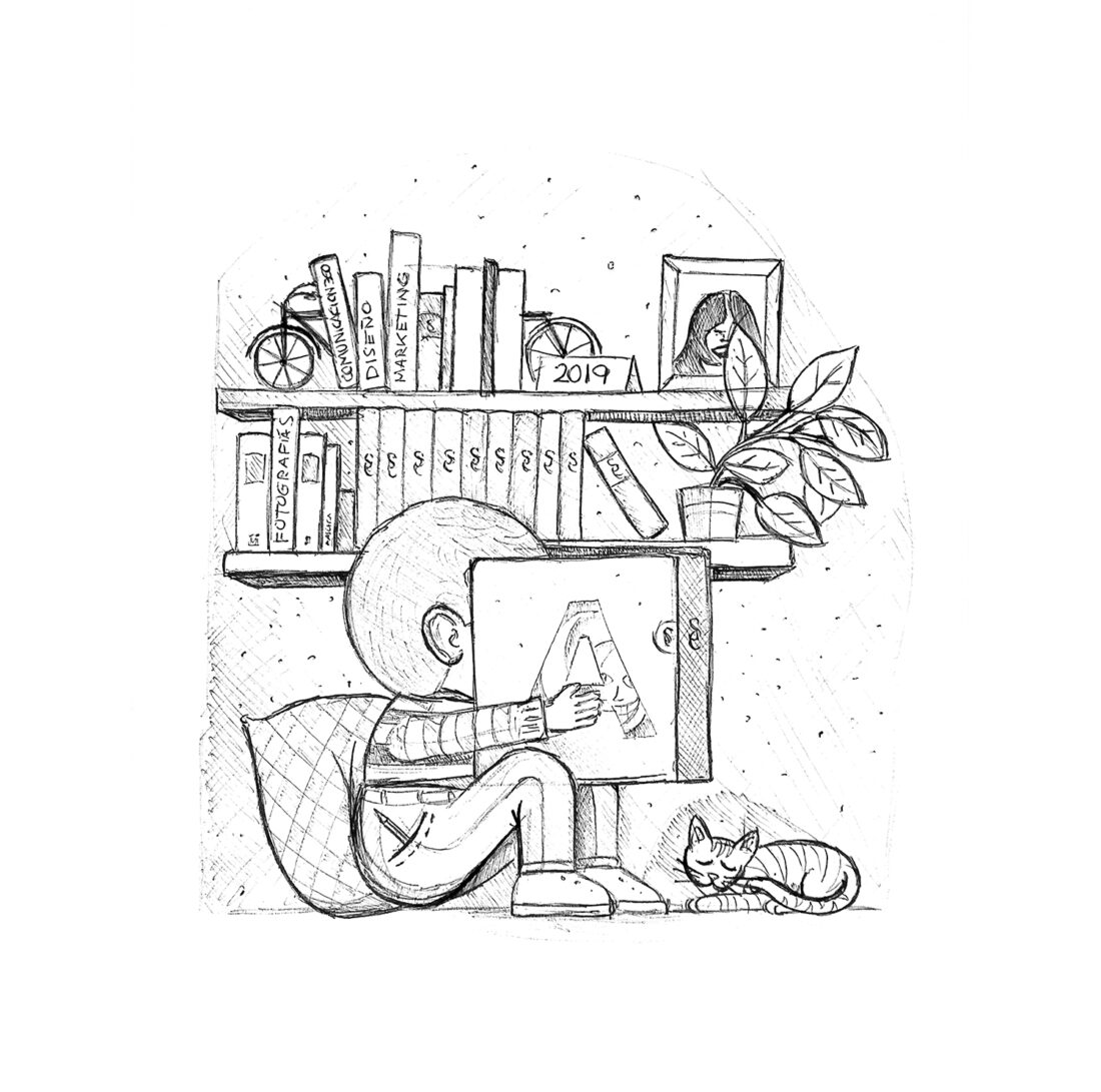 Ilustración niño realizada a bolígrafo