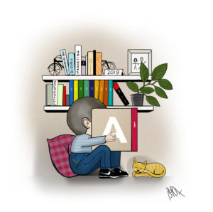 Ilustración niño realizada a bolígrafo y entintado digital